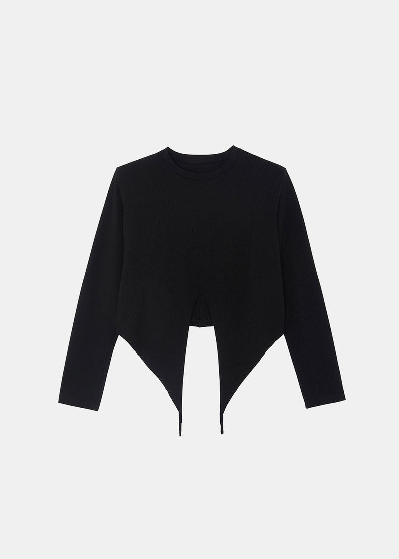 Tie Waist Padded Shoulder Long Sleeve Top in Black Top The Frankie Shop