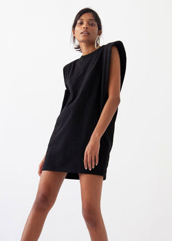 Tina Padded Shoulder Dress- Black Dress The Frankie Shop