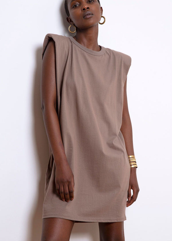 Tina Padded Shoulder Dress- Mocha Dress The Frankie Shop