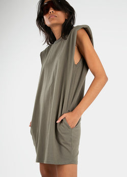 Tina Padded Shoulder Dress- Olive Khaki Dress The Frankie Shop