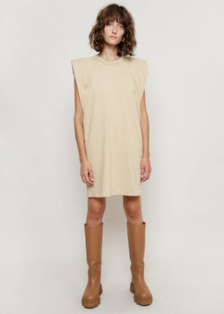 Tina Padded Shoulder Muscle Dress in Almond Milk Dress The Frankie Shop
