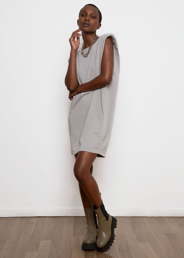Tina Padded Shoulder Muscle Dress- Light Grey Dress The Frankie Shop