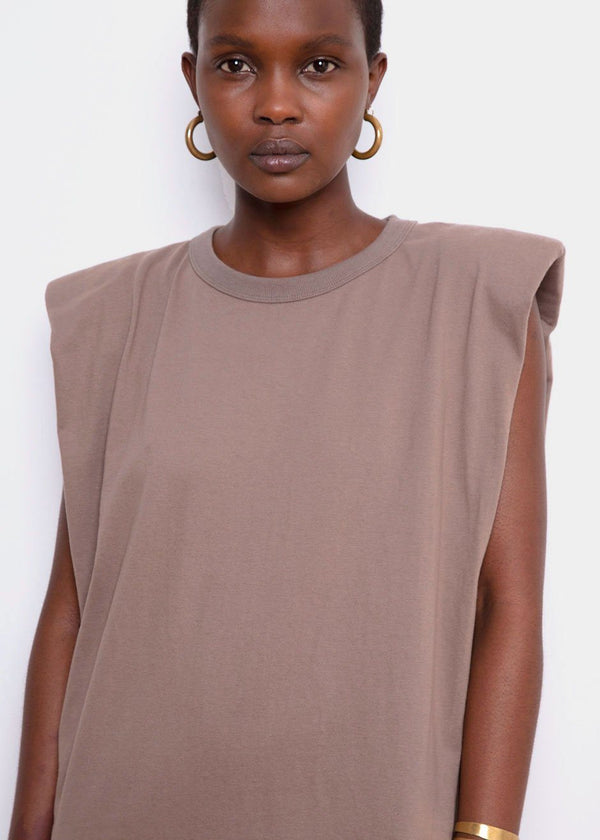 Tina Padded Shoulder Muscle Dress- Mocha Dress The Frankie Shop