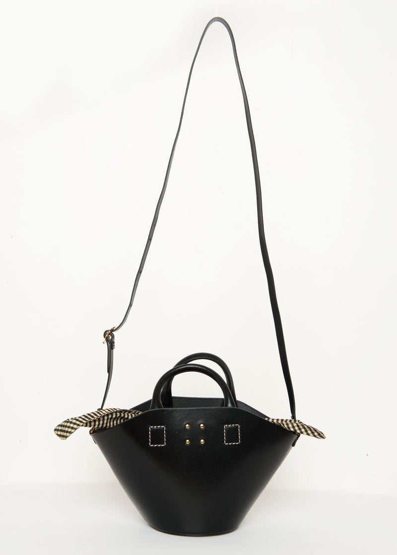 Trade-Mark Small Leather Basket Bag in Black Bag Trademark
