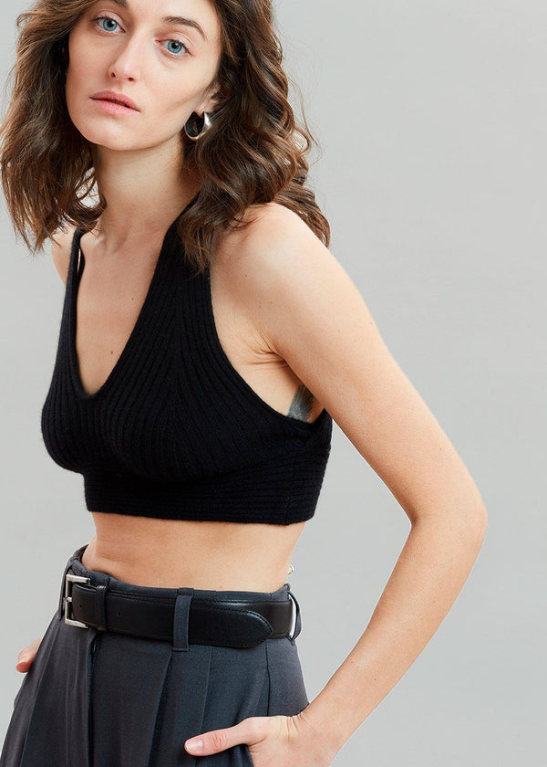 Tromelin Cashmere Knit Bra by Loulou Studio in Black Bra Loulou Studio