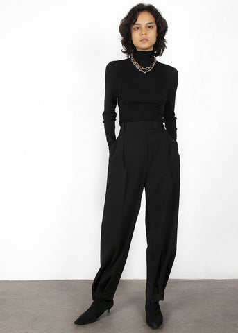 True Black Belted Suit Pants with Button Tab Cuff Pants Blossom