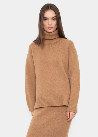 Turtleneck Slit Sweater in Camel Sweater Mainstay