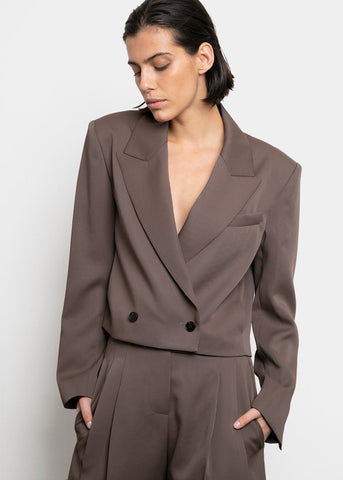 Two Button Cropped Blazer- Olive Brown Blazer Blossom