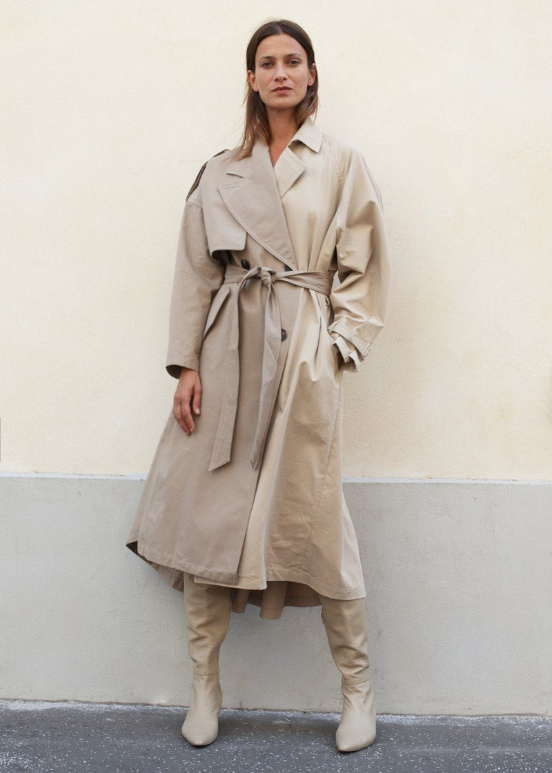 Two Tone Asymmetrical Trench in Khaki Beige trench Frankie