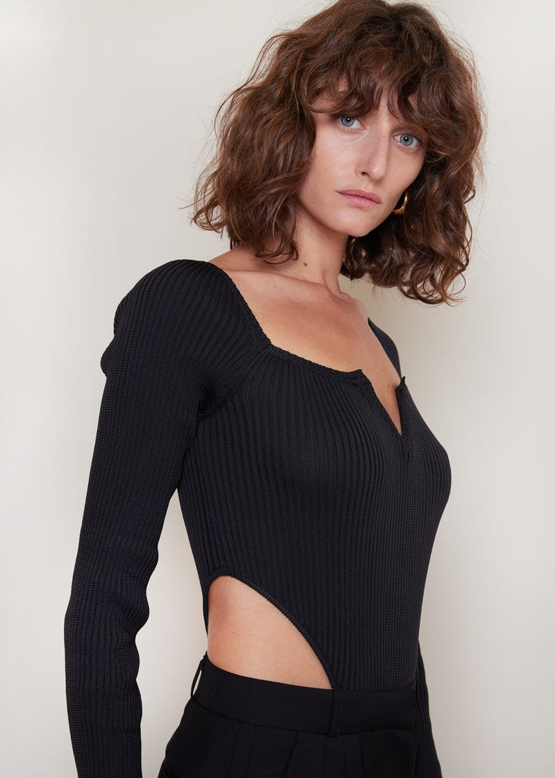 V-Neck Knitted Bodysuit by Bevza in Black bodysuit bevza