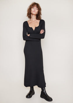 V-Neck Knitted Long Dress by Bevza in Black bodysuit bevza