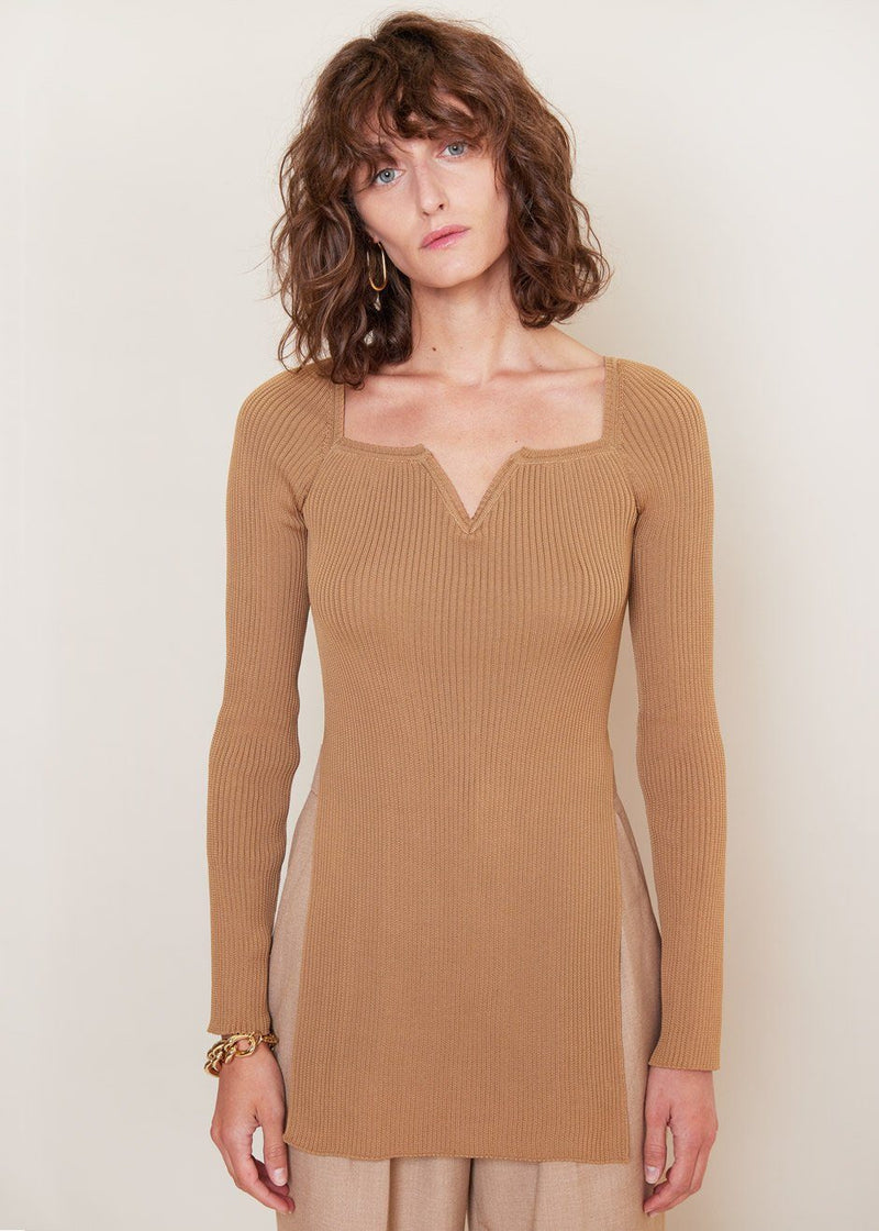 V-Neck Knitted Top by Bevza in Camel Top bevza