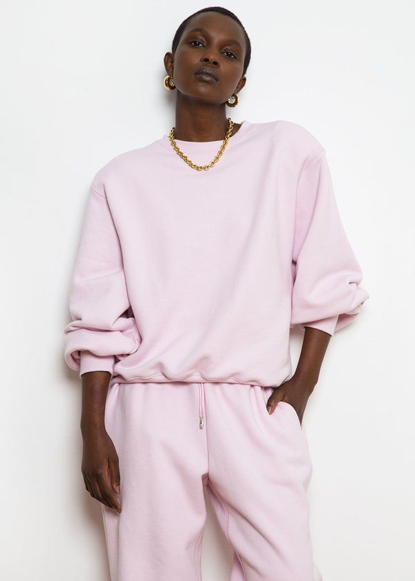 Vanessa Padded Shoulder Sweatshirt in Bubble Pink Sweatshirt The Frankie Shop