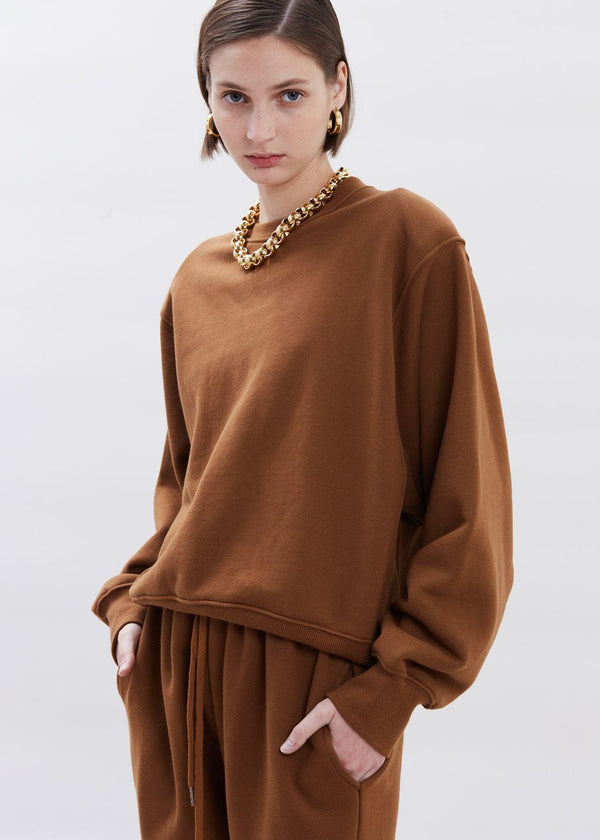 Vanessa Padded Shoulder Sweatshirt in Chocolate Brown Sweatshirt The Frankie Shop