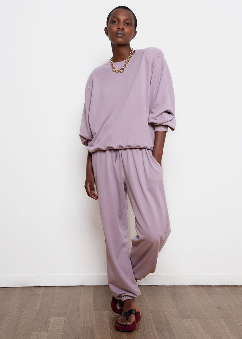 Vanessa Padded Shoulder Sweatshirt in Lilac Sweatshirt The Frankie Shop