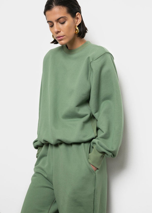 Vanessa Padded Shoulder Sweatshirt in Mossy Green Sweatshirt The Frankie Shop