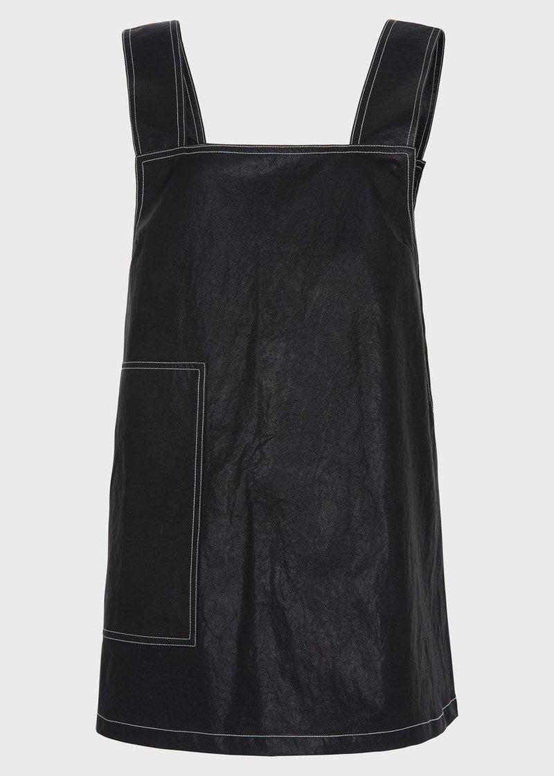 Vegan Leather Top Stitched Mini Dress in Black Dress The Frankie Shop