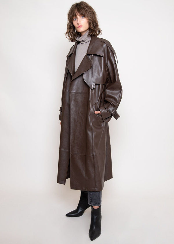 Vegan Leather Trench Coat by Low Classic in Brown Coat Low Classic