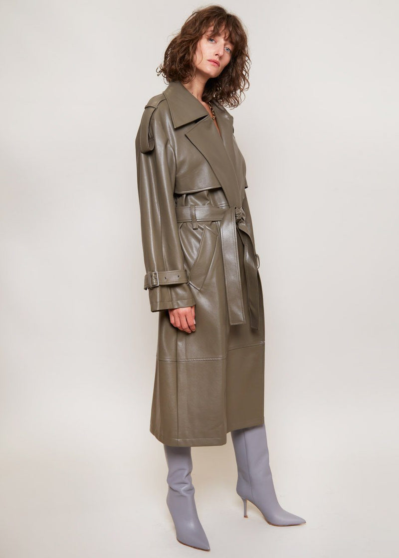 Vegan Leather Trench Coat by Low Classic in Khaki Coat Low Classic
