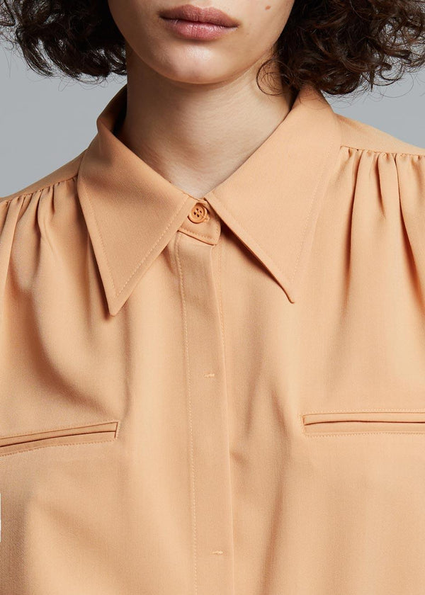 Vianne Padded Shoulder Shirt in Apricot Shirt Stage