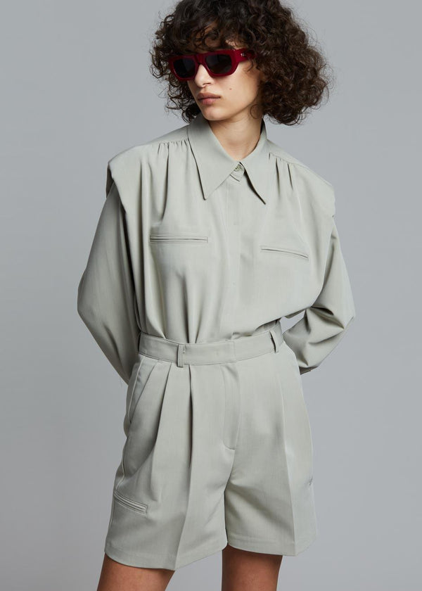 Vianne Padded Shoulder Shirt in Seagrass Shirt Stage