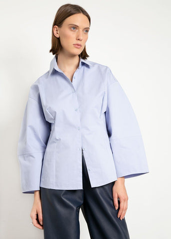 Volume Sleeve Cotton Shirt in Sky Blue Shirt The Wave