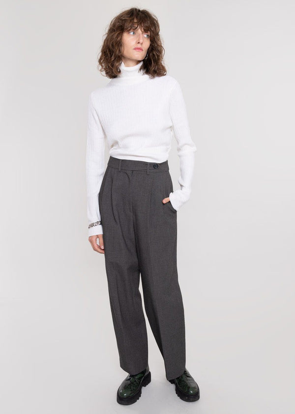 Waist Tab Pleat Front Trousers in Asphalt Pants Another.J