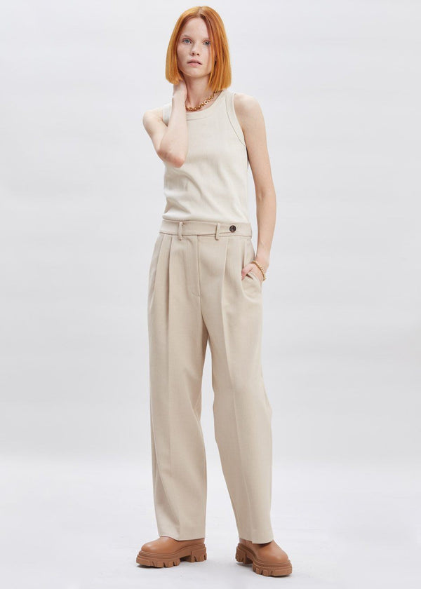 Waist Tab Pleat Front Trousers in Winter Sand Pants Another.J
