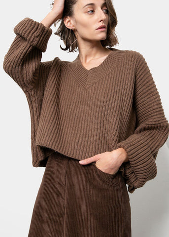Walnut Cropped V-Neck Sweater Sweater kiki love