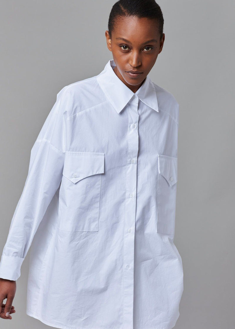 Western Pocket Shirt in Optic White Shirt The Frankie Shop