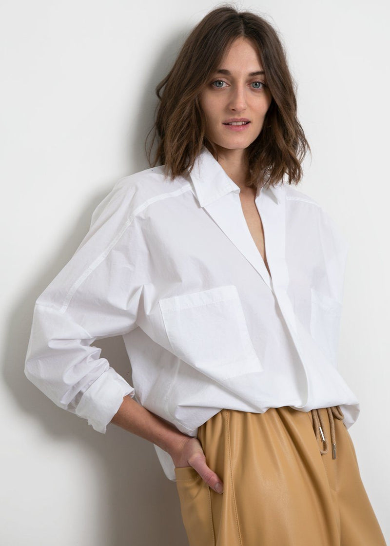 White Cotton Criss Cross Top Shirt Frankie