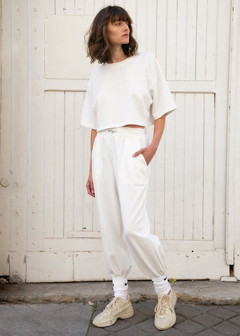White Cropped Top and Jogger Set Set The Frankie Shop