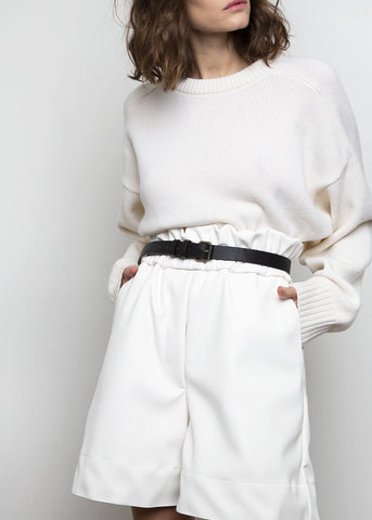 White Paperbag Vegan Leather Shorts by Studio Cut Shorts Studio Cut