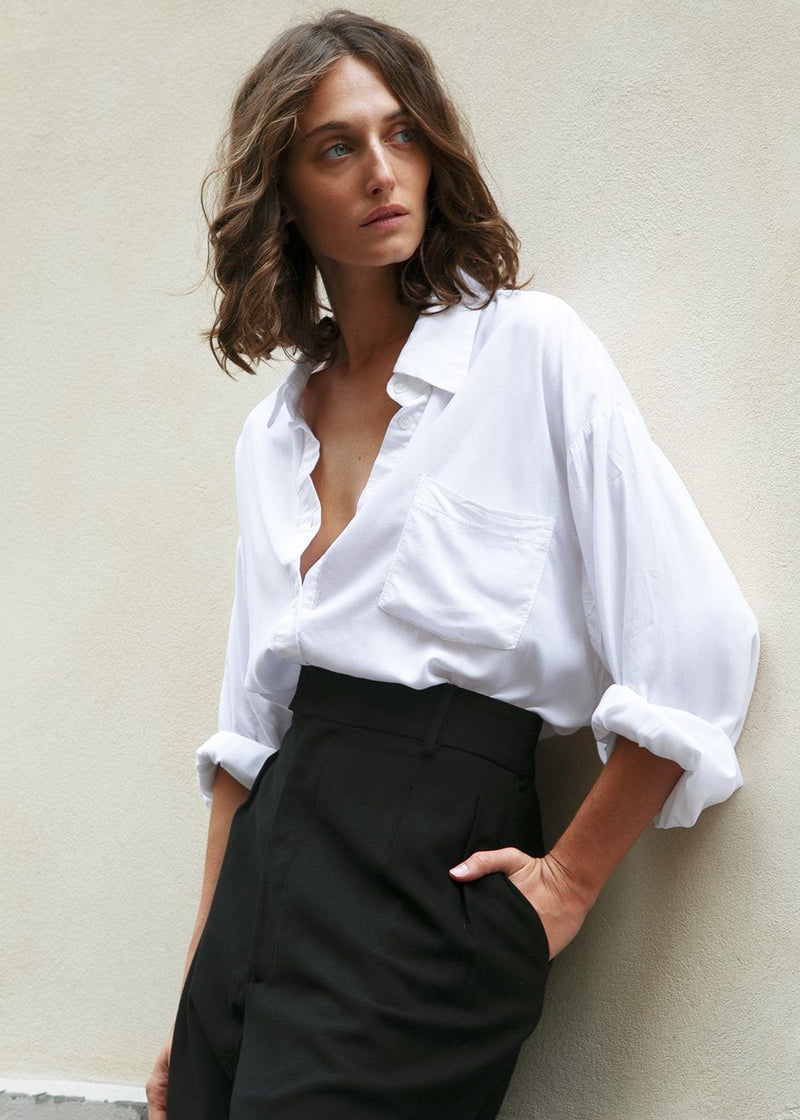 White Silky Oversized Button Shirt Shirt London Flat
