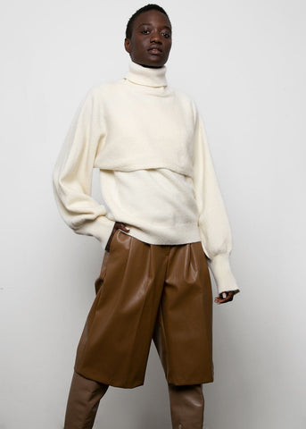 White Two Piece Layered Turtleneck Sweater Sweater Le Noir