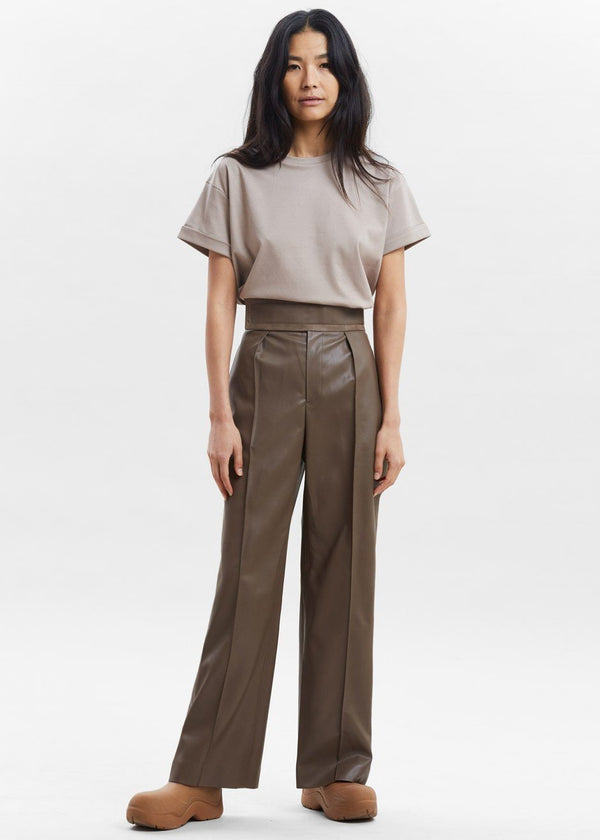 Wide Band Faux Leather Trousers in Walnut Pants Paper Moon