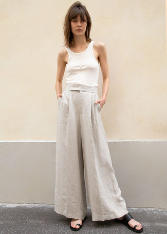 Wide Leg Linen Pleated Pants in Pebble Pants De Liens
