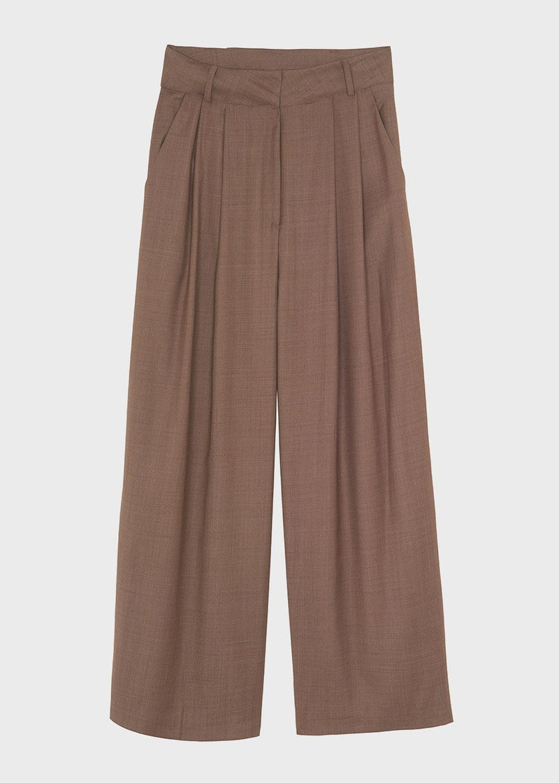 Wide Leg Pleat Front Pants in Tobacco Pants The Frankie Shop