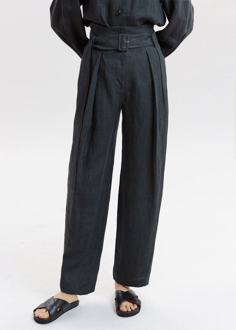 Wide Tuck Pants by Low Classic in Deep Green Pants Low Classic