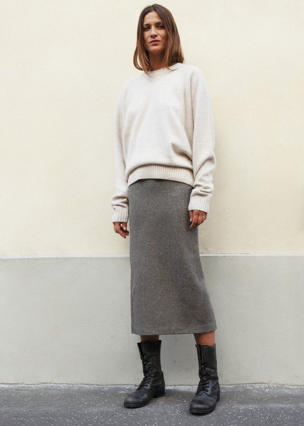 Wool Blend Herringbone Pencil Skirt in Grey skirt frankie