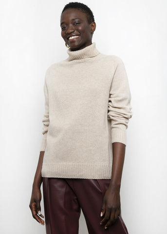Wool & Cashmere Turtleneck Sweater in Sand Sweater Maran