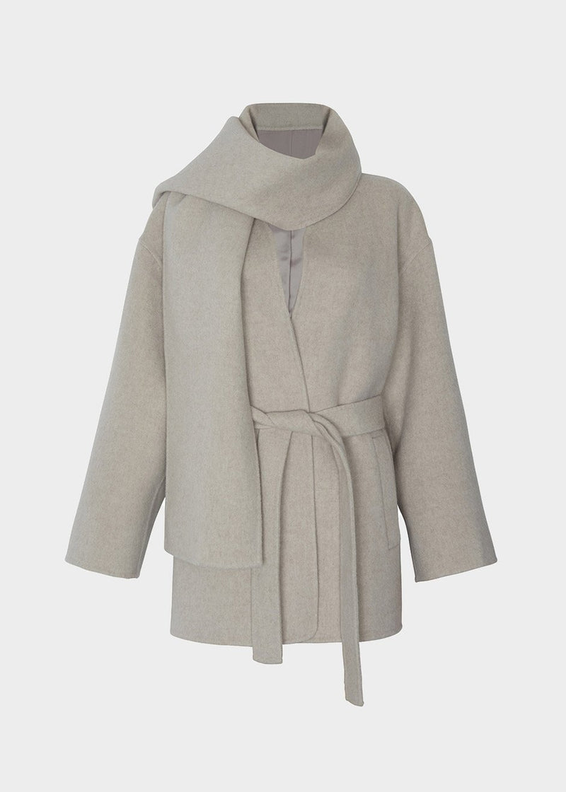Wool Collarless Coat with Scarf in Cloud Grey Coat Ave 29th