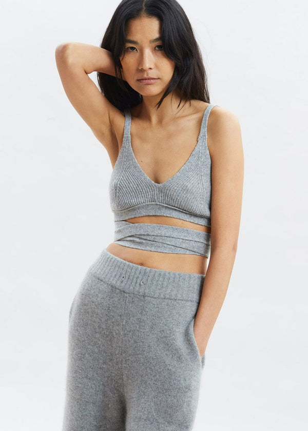 Wool Knit Lace-Up Bralette in Heather Grey Bra The Frankie Shop