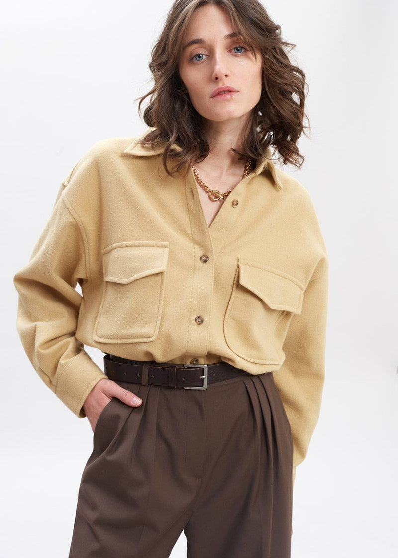 Wool Oversized Pocket Shirt in Warm Sand Shirt Neue