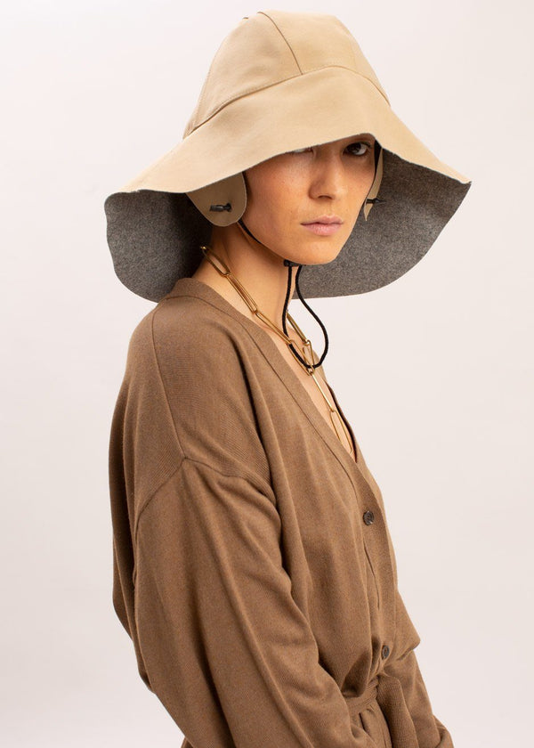 Wool Trench Hat by KASSL Editions in Light Grey/Camel Hat KASSL Editions