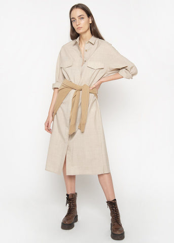 Woven Beige Midi Shirt Dress Dress verso