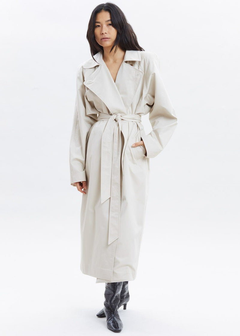 Woven Box Shoulder Trench in Bone Coat Paper Moon