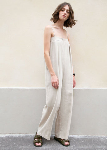 Woven Linen Spaghetti Strap Jumpsuit in Neutral Beige Jumpsuit Black Fuchsia