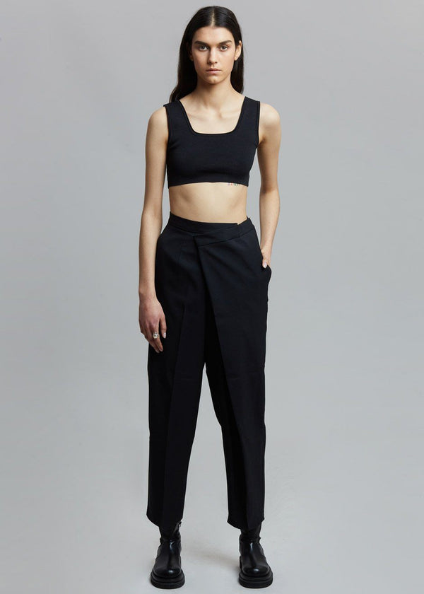 Wrap Front Tapered Pants in Black Pants Browns