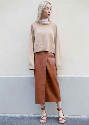 Wrap Leather Skirt in Caramel by Piment France Skirt Piment